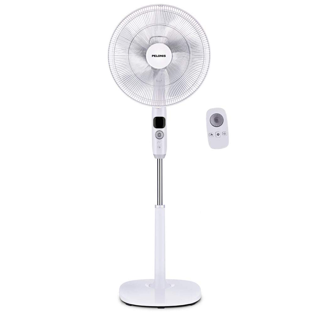 Pelonis FS40-16CR Oscillating Pedestal, Turbo Silence Stand Fan 16 , Powerful and Quiet Speed, 12 Hour On Off Timer, 3 Modes, Remote Control, Dc