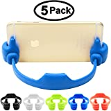 Honsky Thumbs up Cell Phone Stand, 5 Packs Universal Flexible Multi-angle Cute iPhone iPad Mini Android Smart Cellphone Tablet Desk Holder for Kitchen Office Home Travel, Blue Black Green White Pink