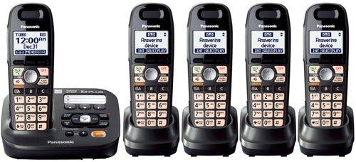 Panasonic KX-TG6592T + 3 KX-TGA659T - 5 Handset Cordless Telephone System 1.9GHz DECT 6.0