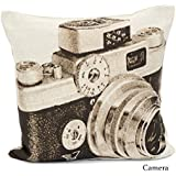 ARLINENS Chenille Woven Vintage Tapestry Cushion Cover Decorative Pillowcases Design CAMERA Size 18x18 by ARLINENS
