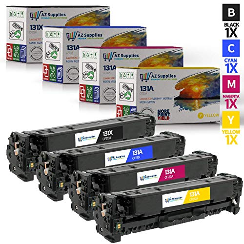 AZ SUPPLIES 4-Pack Toner | 35% more print yield | as a Replacement for  HP 131A CF210X CF211A CF212A CF213A for HP Laserjet Pro 200 Color M251N, mfp M251NW, mfp M276N, M276NW