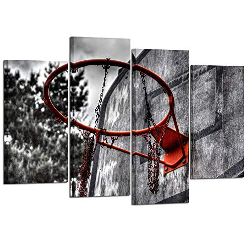 Kreative Arts 4 Piece Black White and Red Canvas Wall Art Old Basketball Poster Artwork Prints Vintage Modern Home Decor Stretched and Framed Ready to Hang for Living Room ()