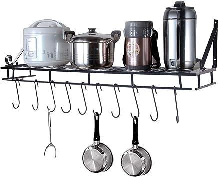 Iron Hanging Pan Pot Rack Wall Mounted Kitchen Holder Storage Organizer 10 Hooks