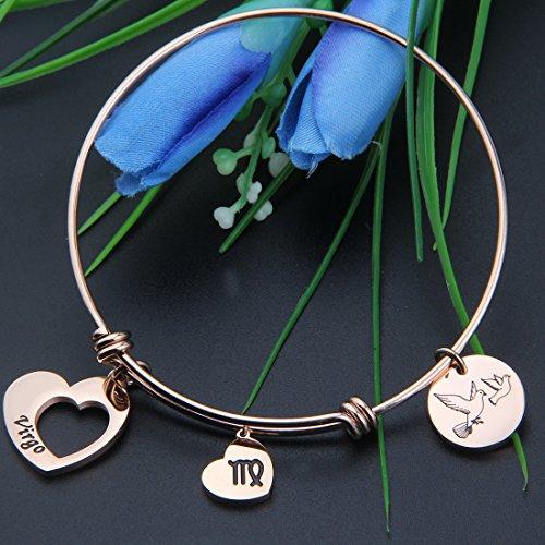 MAOFAED Rose Gold Zodiac Sign Constellation bracelet for Women Girl Gifts (Virgo-Rose Gold)