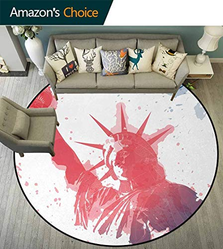 - 4Th Of July Modern Machine Round Bath Mat,Watercolor Lady Liberty Silhouette With Paint Splashes Independence Non-Slip No-Shedding Kitchen Soft Floor Mat Diameter-39 Inch,Dark Coral Pale Blue