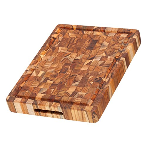 Proteak Chopping Block (Teakhaus - Teak Cutting Board - Rectangle Board With Hand Grip & Juice Canal (16 x 12 x 2)