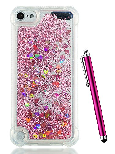 iPod Touch 6 Case,iPod Touch 5 Case Glitter,CAIYUNL Liquid Bling Sparkle Clear Cute Slim TPU Kids Girls Protective Cover Shockproof for Apple iPod Touch 6th Generation/iPod Touch 5th+Stylus-Pink