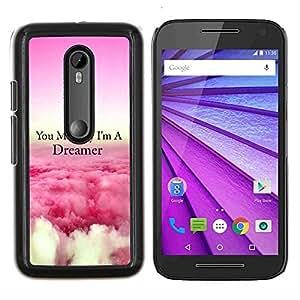 """Be-Star Único Patrón Plástico Duro Fundas Cover Cubre Hard Case Cover Para Motorola Moto G (3rd gen) / G3 ( Dreamer Nubes Rosa Sobre Cita Volar"""" )"""
