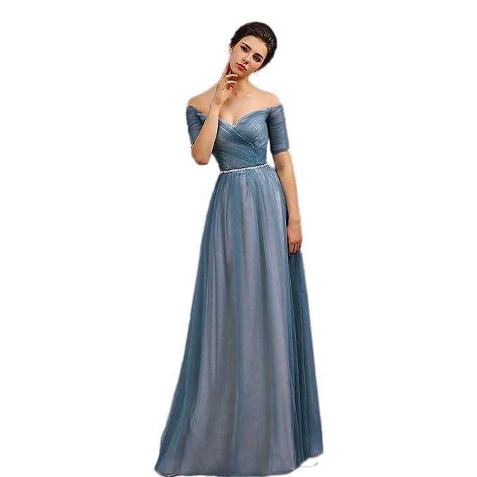 Xnaihuafei parte trasera abierta de tul color azul larga fiesta prom vestido vestido de noche Azul