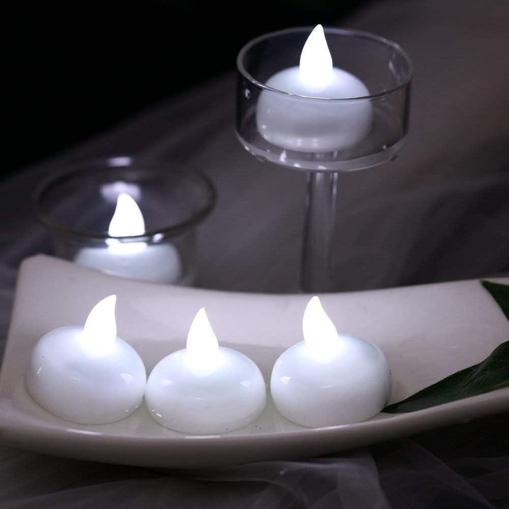 anniversaire Diyife Lot de 24/bougies chauffe-plat /à piles r/éalistes avec lumi/ère vacillante jaune chaud Halloween Id/éal pour d/écoration de Saint-Valentin No/ël
