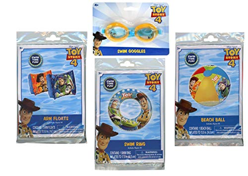 Toy Story 4 Summer Fun Swim Bundle - Goggles, Beach Ball, Swim Ring and Arm Floats!