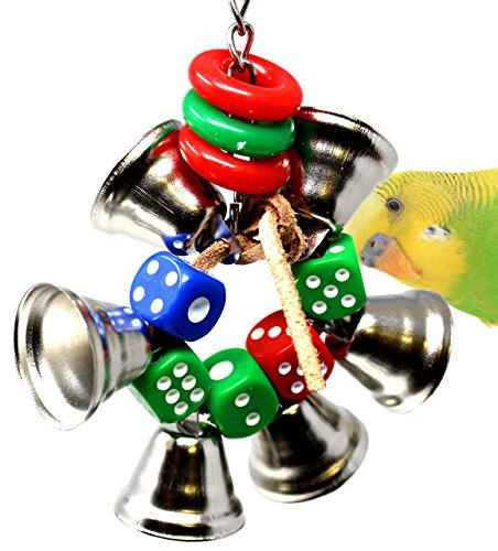 Bonka Bird Toys 1430 Dice Ringer Bird Toy Parrot Cage Toys Cages Leather Bells Cockatiels Parakeet Lovebird. Quality Product Hand Made in The ()