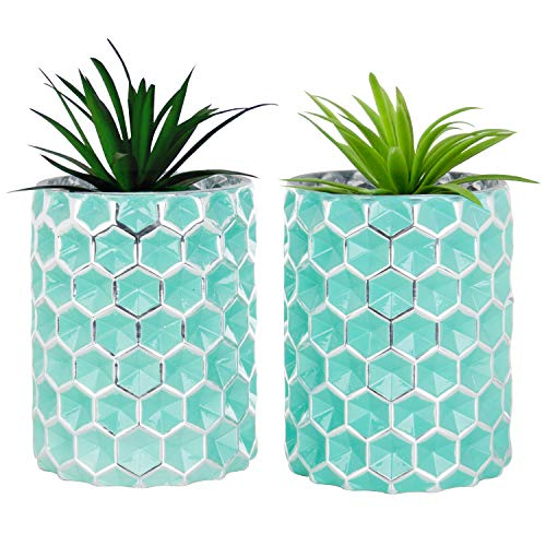 MyGift Honeycomb Design Turquoise Glass Vases, Set of 2