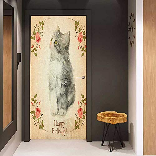 Onefzc Sticker for Door Decoration Birthday Adorable Fluffy Cat with Rose Branches in Greeting Card Inspired Design Door Mural Free Sticker W17.1 x H78.7 Tan Grey and Coral ()