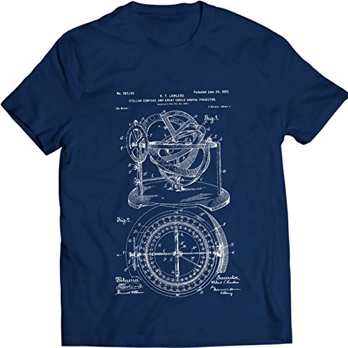 Price comparison product image Stellar Compass Circle Course Projector Patent T-Shirt (XL,  Navy Blue)