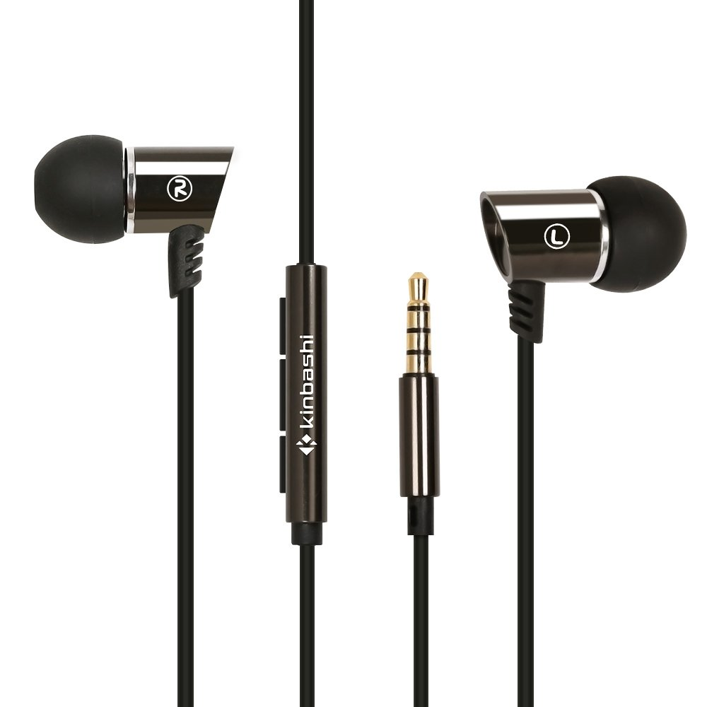 Kinbashi Noise Cancelling Earbuds with Microphone Volume Control Stereo In-Ear Wired Earphones Universal Noise Isolating Earbuds Headphones for iPhone Samsung Motorola Smartphone PC 3.5mm Port (Black) 6957738067604