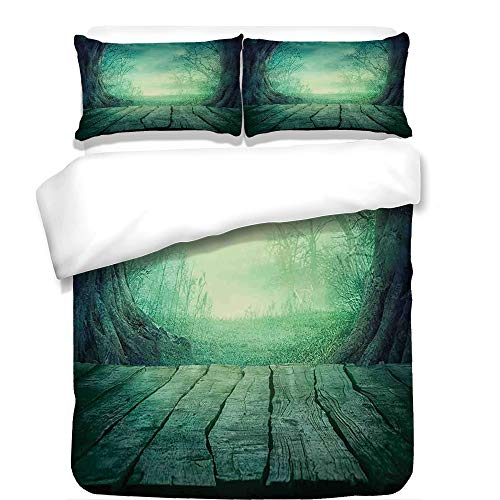 3Pcs Duvet Cover Set,Gothic,Spooky Scary Dark Fog Forest with Dead Trees and Wooden Table Halloween Horror Theme Print,Blue,Best Bedding Gifts for Family/Friends -