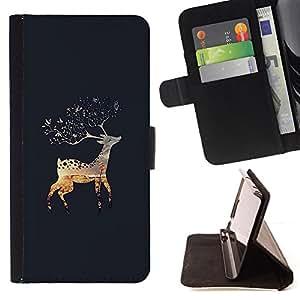LAPLAND NATURE ALASKA REINDEER GREY FALL/ Personalizada del estilo del dise???¡Ào de la PU Caso de encargo del cuero del tir????n del soporte d - Cao - For Samsung Galaxy S5 Mini, SM-G800