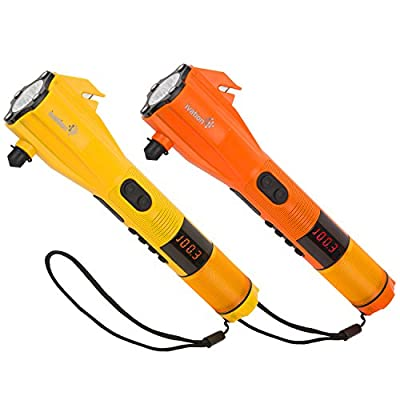 Ivation Dynamo Rainproof LED Flashlight, SOS Strobe, Windshield Hammer, Seatbelt Cutter, Compass, Mobile Device Charger - Charges via USB or Crank Handle