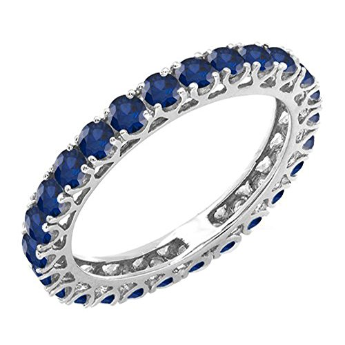 - Dazzlingrock Collection 1.80 Carat (ctw) 14K Blue Sapphire Ladies Eternity Wedding Stackable Ring 1 3/4 CT, White Gold, Size 6.5