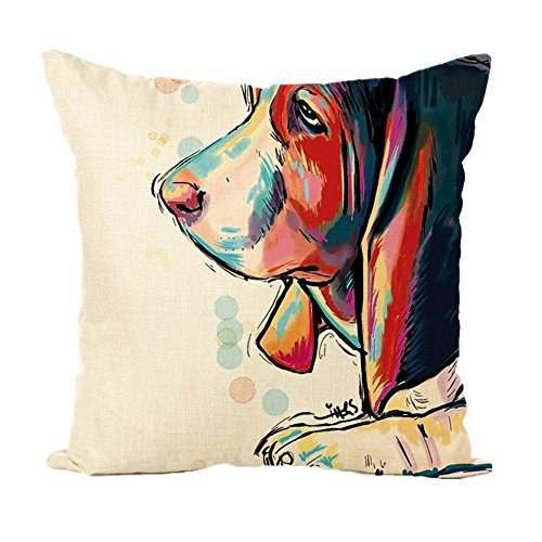 Easternproject Cute Pet Dog Painting Cotton Linen Throw Pillow Case Cushion Cover Square Animal Pillow Covers Home Decor 18 x 18 Inch (5# Basset Hound)