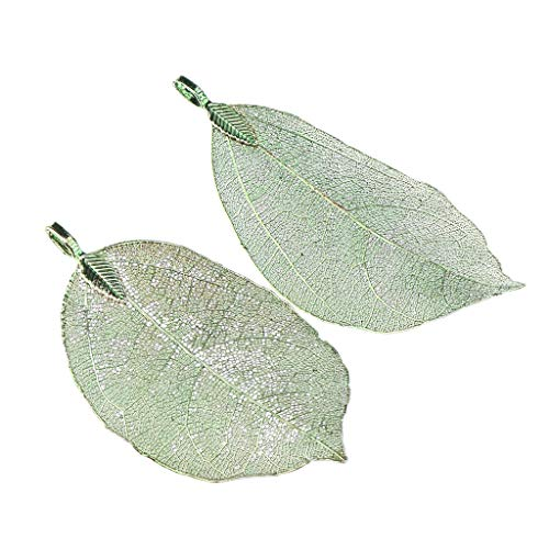 - Prettyia 2 Pieces Electroplated Copper Natural Filigree Leaf Charms DIY Pendant Crafts for Necklace Earring Dangle Jewelry - Green