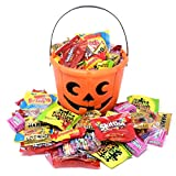 Halloween Gift Orange Bucket with Assorted Candies, Starburst, Skittles, Sour Patch Kids, Lifesavers, Twizzlers, Swedish Fish, Haribo, Sweetarts and Nerds, 3 Lbs