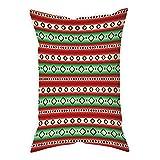iPrint Microfiber Throw Pillow Cushion Cover,Fiesta,Mexican Blanket Geometric Pattern Stripes and Rhombuses Ethnic Arrangement Decorative,Green Vermilon Cream,Decorative Square Accent Pillow Case