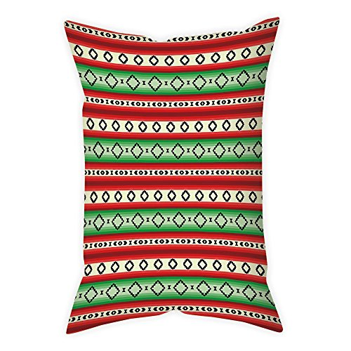 iPrint Microfiber Throw Pillow Cushion Cover,Fiesta,Mexican Blanket Geometric Pattern Stripes and Rhombuses Ethnic Arrangement Decorative,Green Vermilon Cream,Decorative Square Accent Pillow Case by iPrint