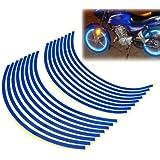 """16-18 pegatina """"Cinta Azul Borde de la rueda de la raya reflexivo Decal para el coche de la motocicleta bicicleta de la bici"""