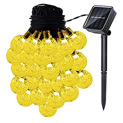 Solar String Lights, 19.6ft 30 LED Bulb Light with 8 Modes for Patio, Garden, Path, Party and Home Decorations?Warm White?