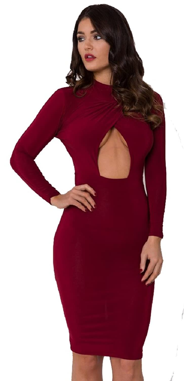 Crazy Girls Womens Kim Kardashian Style Long Sleeve Cross Over Bodycon Midi Dress