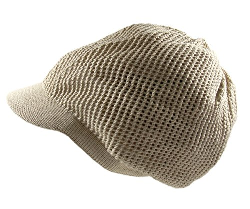 - RW 100% Cotton Mesh Rasta Light Weight Slouchy Beanie Visor (KHAKI)