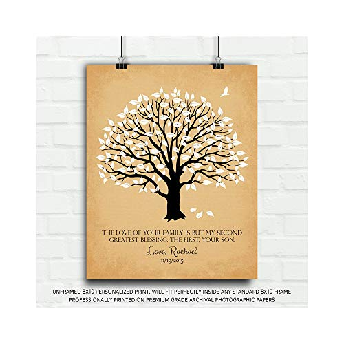 Personalized Mother of Groom Thank You Gift The Love of Your Family Second Greatest Blessing Poem for Parents Wedding Poem Magnolia Tree Gift for Mom and Dad - 8x10 Unframed Custom Paper Art Print