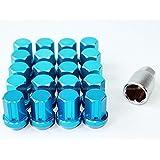 送料無料 ロックナット 盗難防止 ホイールナット M12 P1.5 19HEX 20個セット 専用ソケット付き ブルー