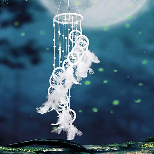 ZZH Unique Dream Catcher, White Feather Wall Hanging Car Hanging Home Decoration, for Kids Adults