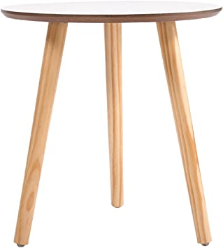 Amazon Com Wood Furniture Modern Round Coffee End Tea Table