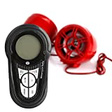 Rupse Waterproof Motorcycle ATV UTV Bike Handlebar Speakers Audio Sound System Bluetooth MP3 FM Radio with Display Screen 3'' Red Trumpet Horn