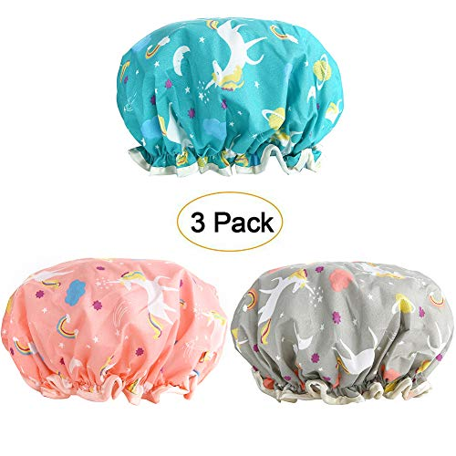 Shower Caps, 3 PACK Bath Cap for Women Waterproof & Adjustable Double Layered Shower Cap (Multi-colored6)