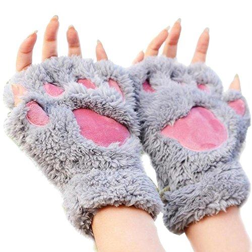 レディース冬かわいい猫肉球指なしミトン手袋