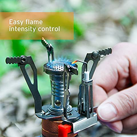 Camping Stove W Piezo Ignition Mini Gas Stove Windproof and Collapsible Camp Burner for Outdoor Backpacking(Butane/Butane Propane Canister Compatible) - Ignition Stove