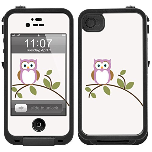 Skin Decal for LifeProof iPhone 4 Case - Purple Owl On Tree Branch Design