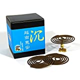 Vietnam Hoi-An Chen Xiang Agarwood Aloeswood Incense Coils 48pcs 3.5hrs with Incense Clip