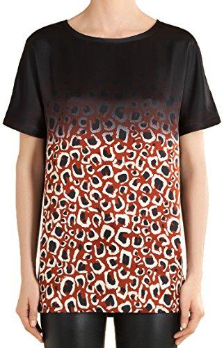 Gucci Women's Mini Leopard Print Satin T-Shirt, Red, M