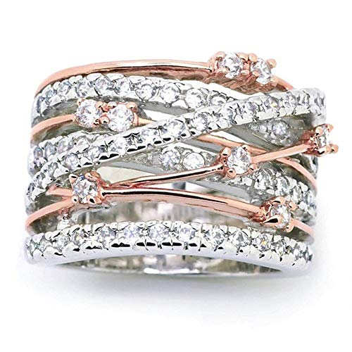 Haluoo Women Rings, Fashion Diamond Cylindrical Rings Fine Ring Criss Cross Wave CZ Ring Statement Engagement Enhancers Ring Personalized Intertwined Wide Band Ring Punk Rings (8, Rose Gold)