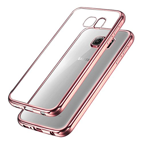 Samsung Galaxy S7 Hülle , Ubegood Kratzfeste Plating TPU Case für Samsung Galaxy S7 Case Schutzhülle Silikon Crystal Case Durchsichtig für Samsung Galaxy S7 (Rose)