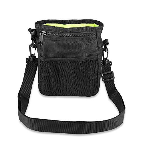 Zoneyee Pets Dog Treat Training Pouch with Built-in Waste Poop Bag Hole Dispenser Headset Hole Two-Way Wearing Training Bag Black