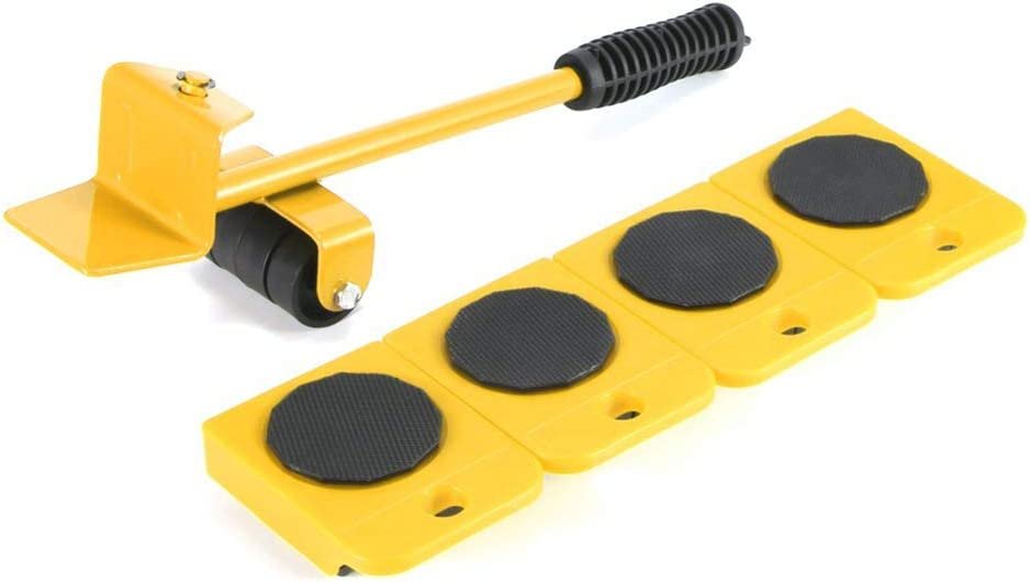 Furniture Moving Wheels Set 5 Pcs Heavy Duty Furniture Lifter and Mover Tool Dollies Aids for Home Renovation Yellow