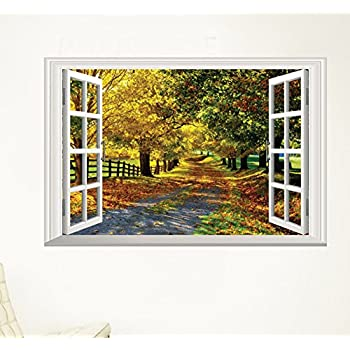 Amazon.com: Charberry Home Decor Art Vinyl Fake Window New Mural ...