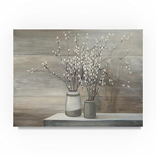 (Pussy Willow Still Life Gray Pots by Julia Purinton, 24x32-Inch Canvas Wall Art)